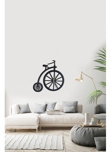 Angemiel Home Bisiklet Metal Duvar Saati Siyah